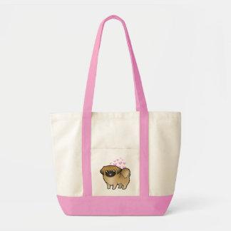 Pekingese愛(切られる子犬) トートバッグ