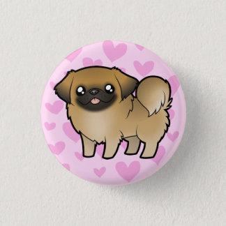 Pekingese愛(切られる子犬) 3.2cm 丸型バッジ