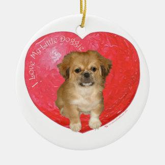 Pekingese/シーズー(犬)のTzuのバレンタインデー セラミックオーナメント