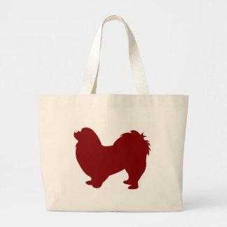 Pekingese (赤い) ラージトートバッグ
