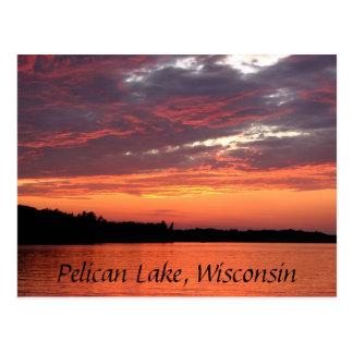 pelican湖の日没、ウィスコンシン ポストカード