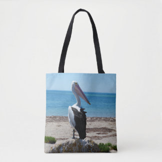 Pelican_On_Beach_Rock、_Full_Print_Shopping_Bag. トートバッグ