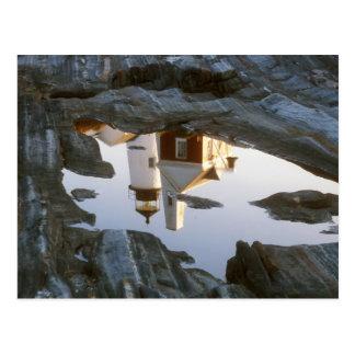 Pemaquidポイント灯台潮プールの反射 ポストカード