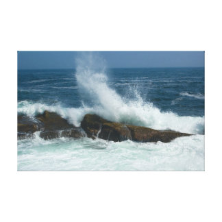 Pemaquidポイント、メインの波の行為 キャンバスプリント