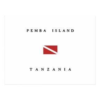 Pembaの島のタンザニアのスキューバ飛び込みの旗 ポストカード