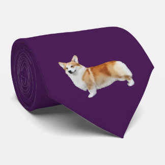 Pembroke Welsh Corgi Neck Tie - Eggplant Purple タイ