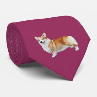 Pembroke Welsh Corgi Neck Tie - Wine オリジナルネクタイ