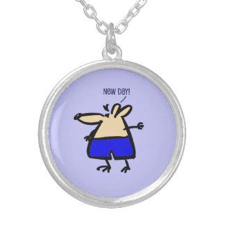 pendent青いb/gの新しい日のおもしろいのマウス シルバープレートネックレス
