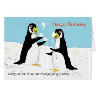Pengyのペンギンの雪玉のごまかすこと。バースデー・カード カード