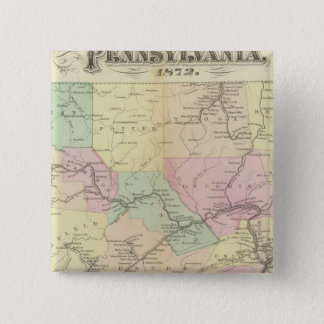Pennの鉄道の地図 5.1cm 正方形バッジ