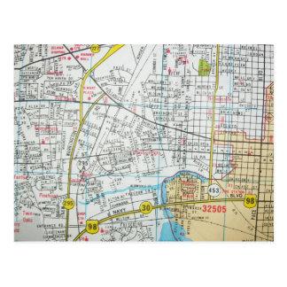 PENSACOLAのFLのヴィンテージの地図の郵便はがき ポストカード
