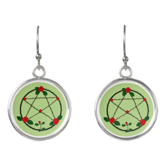 Pentacle of Vines and Red Roses イヤリング