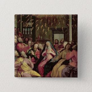 Pentecost、c.1598 (パネルの油) 5.1cm 正方形バッジ