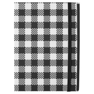 """Pepitaはパターン黒及び白を平方します + あなたのアイディア iPad pro 12.9"""" ケース"""