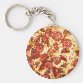 Pepperoniおよびソーセージピザ恋人 ベーシック丸型缶キーホルダー