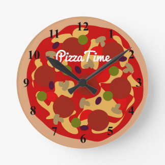 Pepperoniピザノベルティのデザインのカスタムな柱時計 ラウンド壁時計