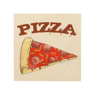 Pepperoniピザ切れのグルメの食糧台所装飾 ウッドウォールアート