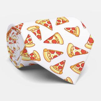 Pepperoniピザ切れのスケッチパターンネクタイ オリジナルタイ