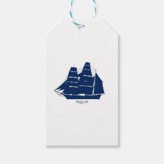 pequodの船の青いデザイン ギフトタグ