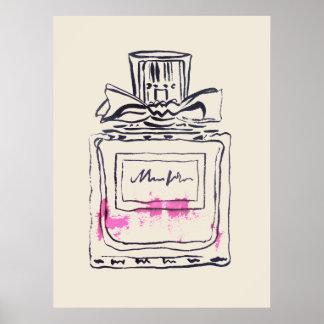 Perfume bottle fashion watercolour illustration ポスター