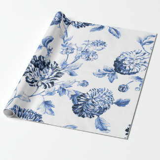 Periwinkle Blue Vintage Botanical Floral Toile ラッピングペーパー