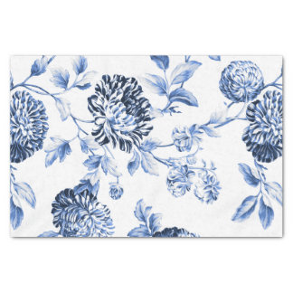 Periwinkle Blue Vintage Floral Toile No.2 薄葉紙