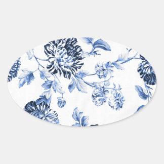 Periwinkle Blue Vintage Floral Toile No.5 楕円形シール