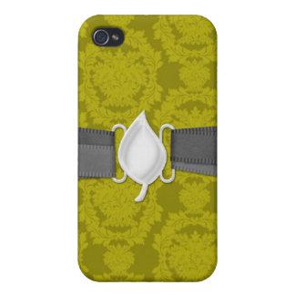 pernオリーブ色のフォーマルなダマスク織 iPhone 4/4Sケース