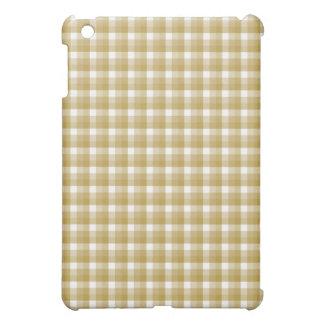 pernギンガムの点検。 タンおよび白 iPad miniケース