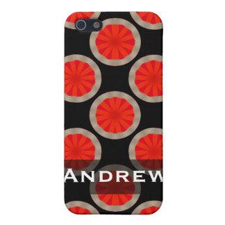 pern名前入りなオレンジ黒い円 iPhone 5 ケース
