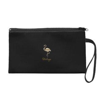 Personalised Cute Gold Flamingo Black Bag リストレット