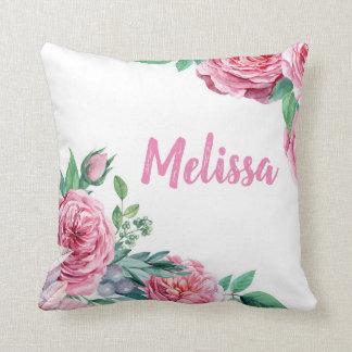 Personalizableのばら色の花の水彩画の装飾用クッション クッション