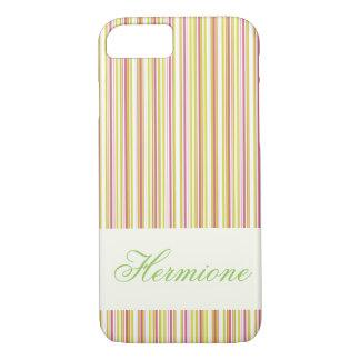 PersonalizableのピンクおよびミントのストライプなiPhoneの場合 iPhone 8/7ケース