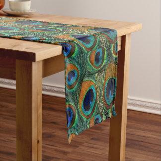 Personalizableの孔雀の羽のプリントのテーブルのランナー ショートテーブルランナー