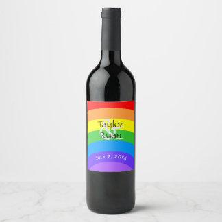 Personalizableの明るい虹 ワインラベル