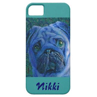 personalizable青いパグのiphoneの場合 iPhone SE/5/5s ケース