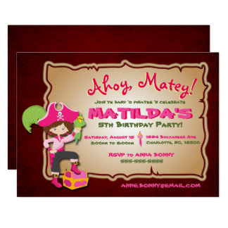 Personalize Cute Pirate Birthday Invitation カード
