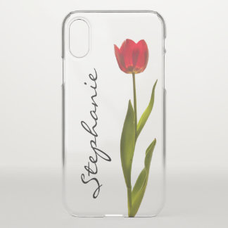 Personalize:  One Red Tulip Floral Photography iPhone X ケース