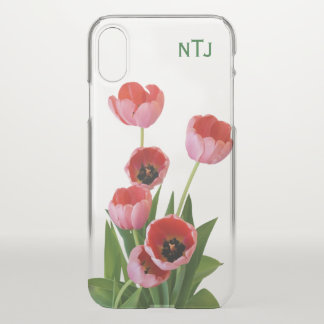 Personalize:  Pink Tulips Floral Photography iPhone X ケース