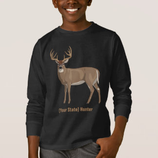 Personalize Your State Whitetail Deer Buck Hunter Tシャツ