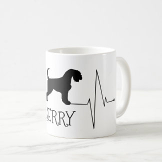 Personalized Airedale Love My Dog Heart Beat コーヒーマグカップ