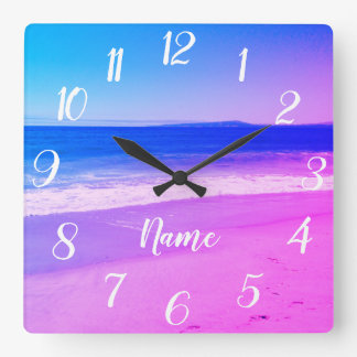 Personalized Aqua Pink Ombre Beach Scene スクエア壁時計