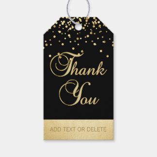 Personalized Black Gold Confetti THANK YOU favor ギフトタグ