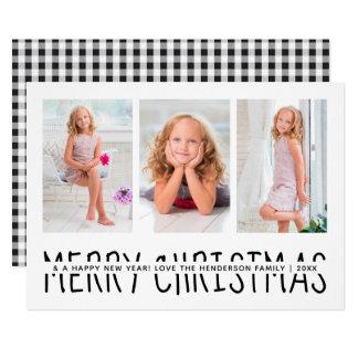 Personalized Christmas Holiday Plaid | Black White カード