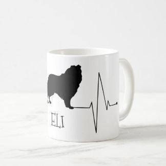 Personalized Collie Love My Dog Heart Beat コーヒーマグカップ
