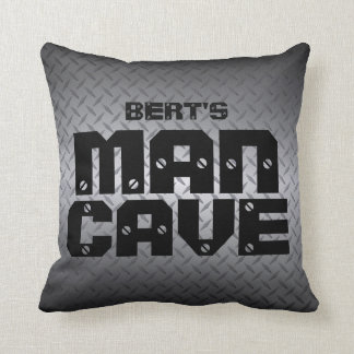 Personalized Diamondplate Man Cave Pillows クッション