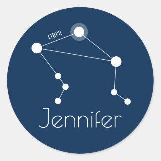 Personalized Libra Zodiac Constellation ラウンドシール