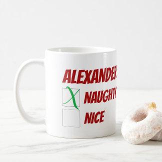 Personalized Naughty or Nice Christmas コーヒーマグカップ