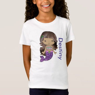 Personalized Organic Mermaid Girls Shirt Tシャツ