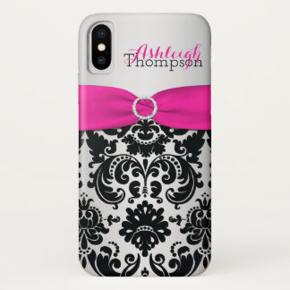 Personalized Pink, Black, Silver Damask iPhone X iPhone X ケース